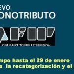 La AFIP prorrogó hasta el 29 de enero la recategorización y el pago del monotributo