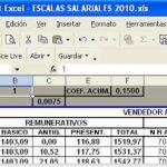 Escalas Salariales en excel para empleados de comercio
