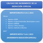 Como calcular el Incremento de la Deducción Especial aguinaldo diciembre 2015