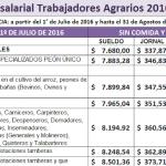 Trabajo Agrario: Escalas salariales y topes 2016 – 2017