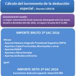 Como calcular el Incremento de la Deducción Especial aguinaldo diciembre 2016