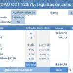 Sanidad: Liquidación de haberes Julio 2017 CCT 122/75