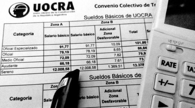 Liquidación sueldos UOCRA recibo