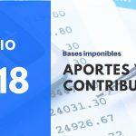 Base imponible máxima y mínima Junio 2018 aportes y contribuciones