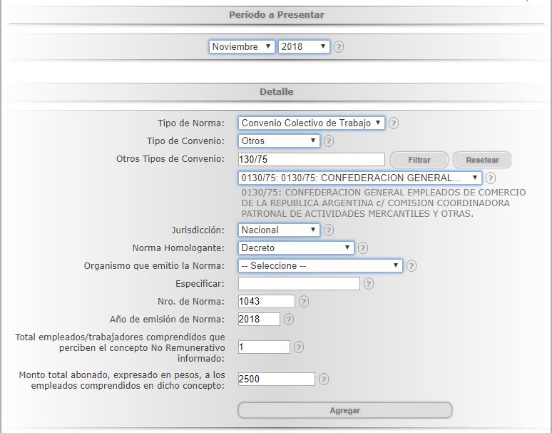 Cómo informar el decreto 1043/18 en la Declaración Jurada no remunerativa DJRN RG 3279 bono 5000 pesos cuota 2500