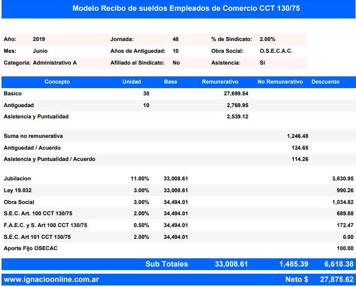 Empleados de Comercio: liquidación sueldo Junio 2019 [2° cuota Suma no remunerativa] modelo recibo www.ignacioonline.com.ar
