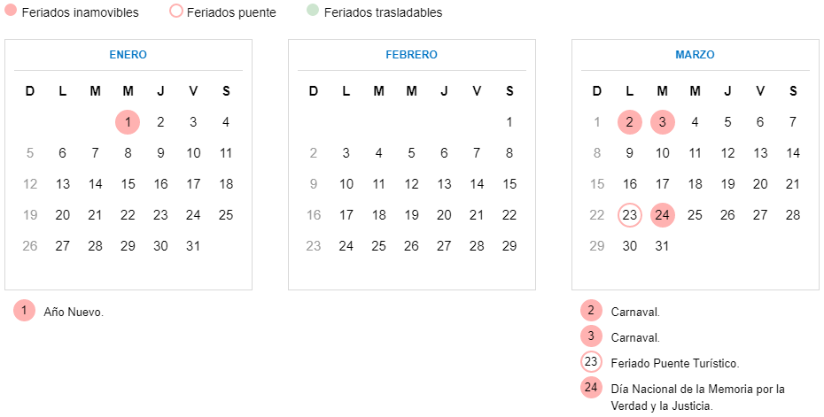 Image result for calendario feriados 2020 argentina